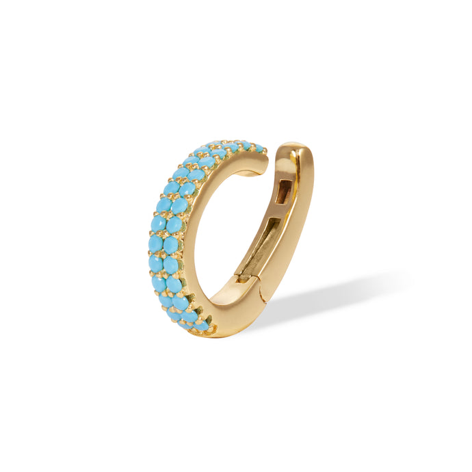 Two rows turquoise gold vermeil medium ear cuff
