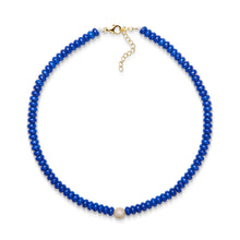 Load image into Gallery viewer, 6,5 mm lapis bead necklace