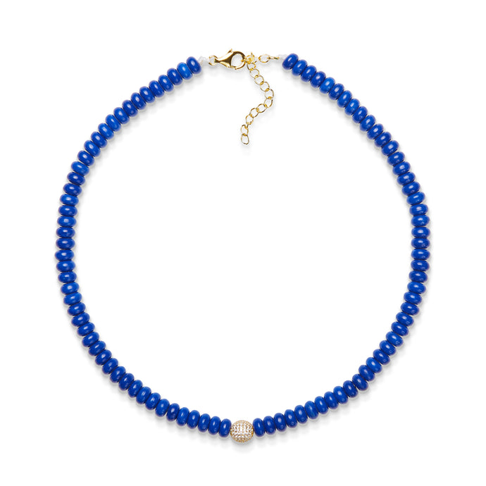 6,5 mm lapis bead necklace