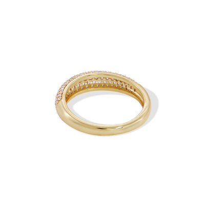 Lara pave gold vermeil ring