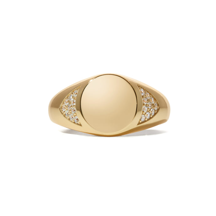 Simple pave gold vermeil signet ring