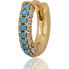 Load image into Gallery viewer, 3 rows turquoise & white stones gold vermeil huggie - GALLERIA ARMADORO