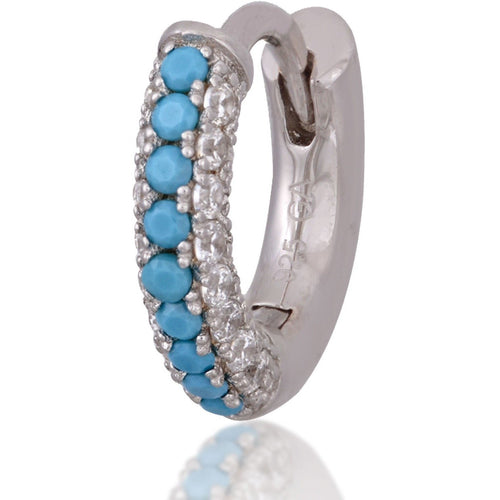 3 rows turquoise & white stones sterling silver huggie - GALLERIA ARMADORO