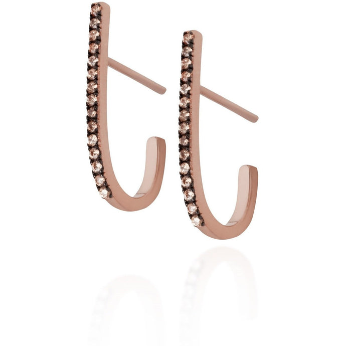 Bar pink gold vermeil champagne cz earrings - GALLERIA ARMADORO