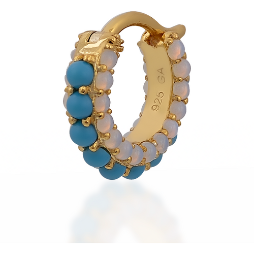 Barrel turquoise cz & opal gold vermeil huggie - GALLERIA ARMADORO
