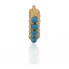 Load image into Gallery viewer, Barrel turquoise cz & opal gold vermeil huggie - GALLERIA ARMADORO