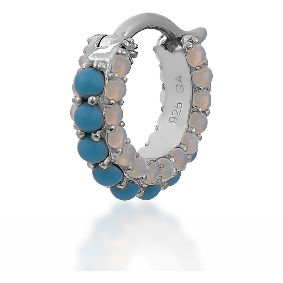 Barrel turquoise cz & opal sterling silver huggie - GALLERIA ARMADORO