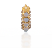 Load image into Gallery viewer, Barrel white cz & opal gold vermeil huggie - GALLERIA ARMADORO