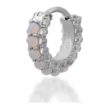 Load image into Gallery viewer, Barrel white cz & opal sterling silver huggie - GALLERIA ARMADORO