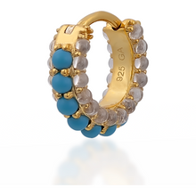 Load image into Gallery viewer, Barrel white cz & turquoise gold vermeil huggie - GALLERIA ARMADORO
