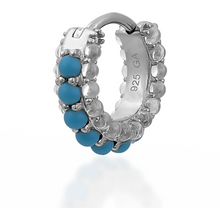 Load image into Gallery viewer, Barrel white cz & turquoise sterling silver huggie - GALLERIA ARMADORO