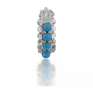 Barrel white cz & turquoise sterling silver huggie - GALLERIA ARMADORO