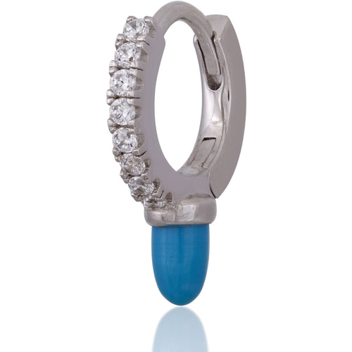Cone turquoise sterling silver huggie - GALLERIA ARMADORO