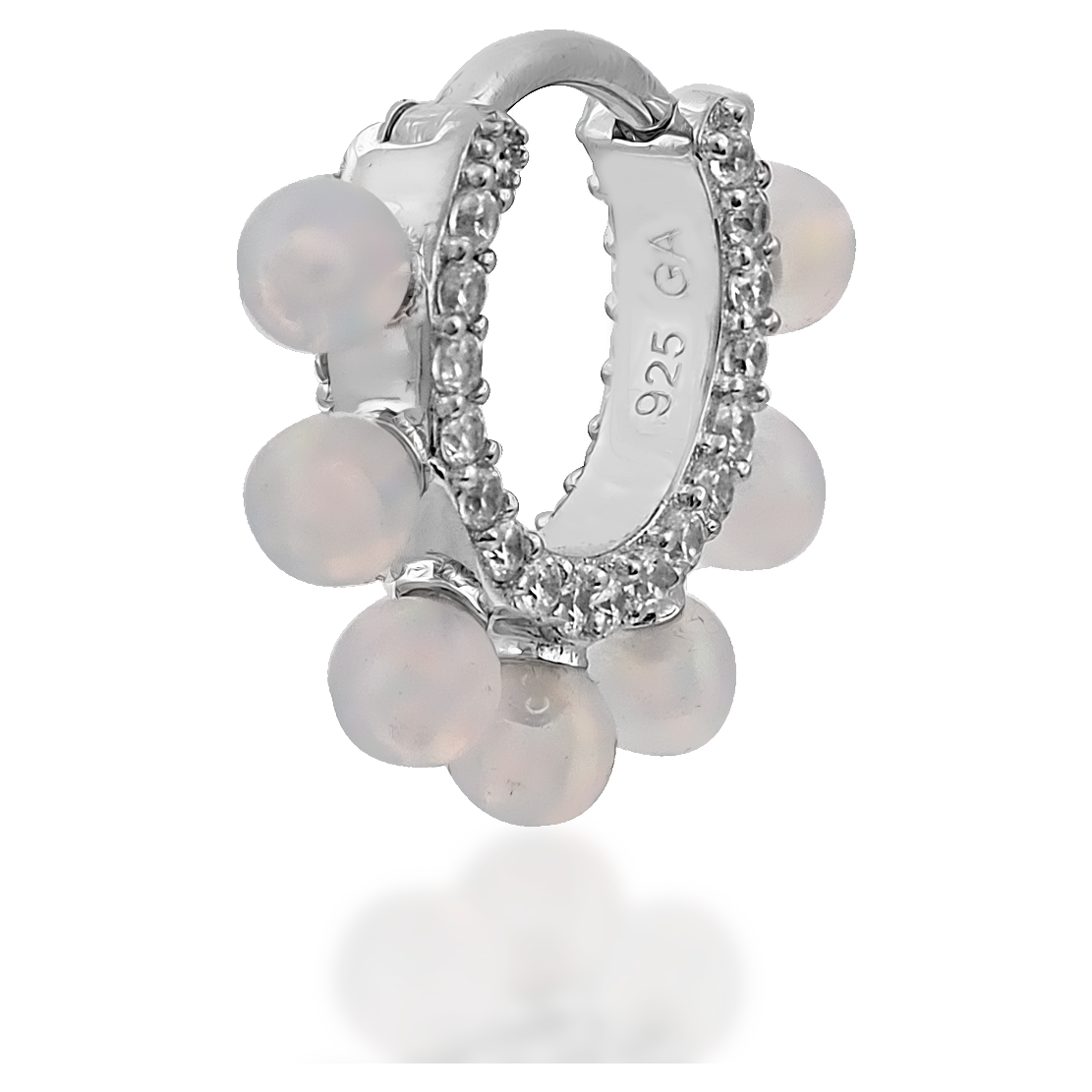 Coronet opal sterling silver huggie - GALLERIA ARMADORO