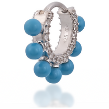 Load image into Gallery viewer, Coronet turquoise sterling silver huggie - GALLERIA ARMADORO