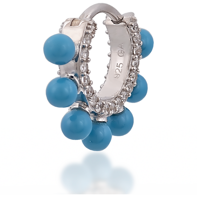 Coronet turquoise sterling silver huggie - GALLERIA ARMADORO