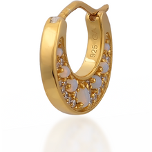 Load image into Gallery viewer, Crescent opal gold vermeil huggie - GALLERIA ARMADORO