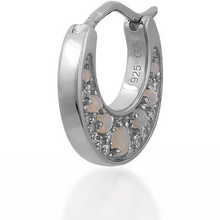 Load image into Gallery viewer, Crescent opal sterling silver huggie - GALLERIA ARMADORO