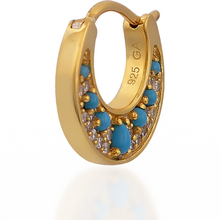 Load image into Gallery viewer, Crescent turquoise gold vermeil huggie - GALLERIA ARMADORO