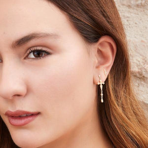 Cross black gold plated dots earring - GALLERIA ARMADORO