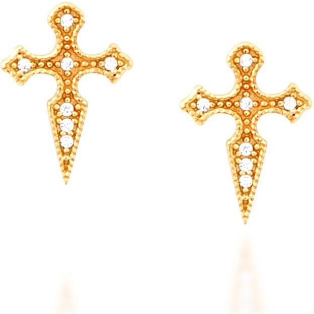 Cross gold vermeil stud earrings - GALLERIA ARMADORO