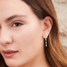Load image into Gallery viewer, Cross pink gold plated silver dots earring - GALLERIA ARMADORO