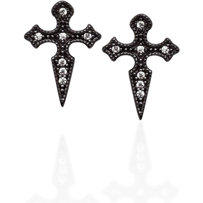 Cross stud earrings in black gold vermeil with white cz pave - GALLERIA ARMADORO
