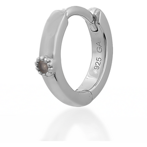 Dot opal sterling silver huggie - GALLERIA ARMADORO