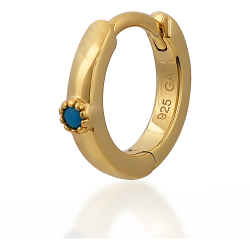 Dot turquoise gold vermeil huggie - GALLERIA ARMADORO