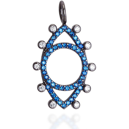 Dots evil eye  blue cz black rhodium plated - GALLERIA ARMADORO
