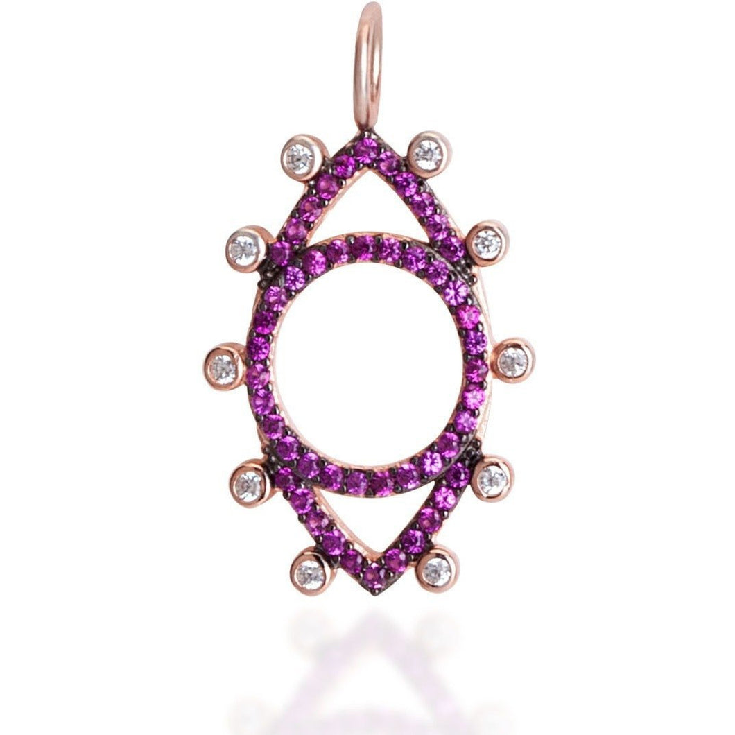Dots evil eye  ruby cz pink gold plated - GALLERIA ARMADORO