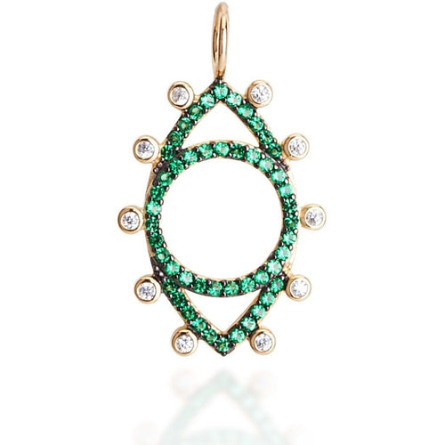 Dots evil eye green cz yellow gold plated - GALLERIA ARMADORO
