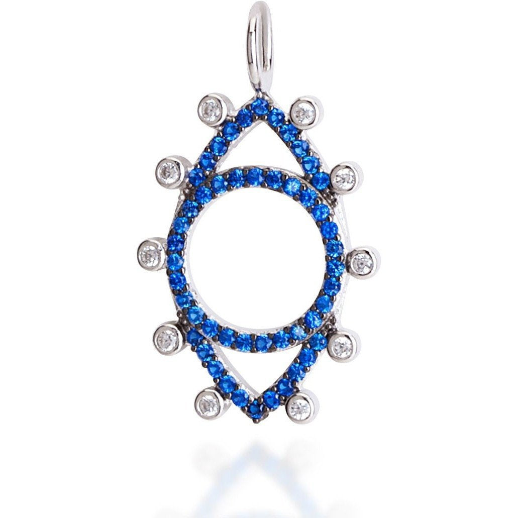 Dots evil eye sterling silver blue cz - GALLERIA ARMADORO