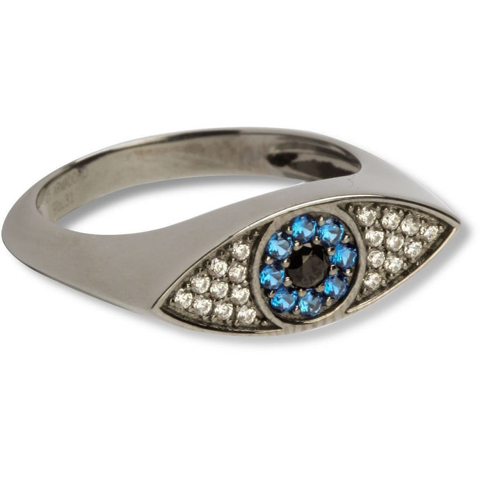 Evil eye blue & white cz black vermeil  ring - GALLERIA ARMADORO