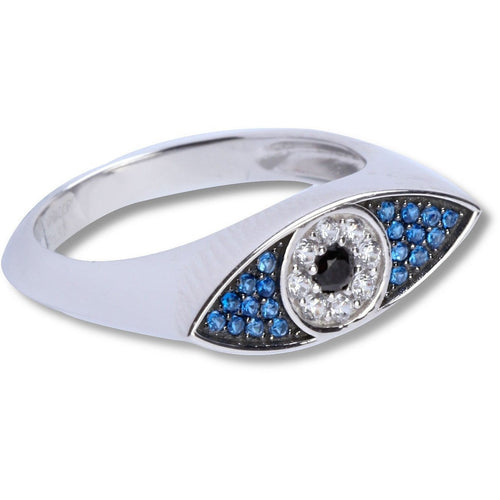 Evil eye blue & white cz sterling silver ring - GALLERIA ARMADORO