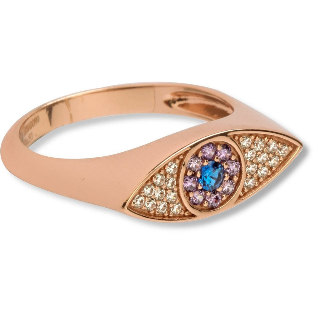 Evil eye ruby & white cz pink gold vermeil  ring - GALLERIA ARMADORO