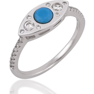 Evil eye sterling silver turquoise ring - GALLERIA ARMADORO