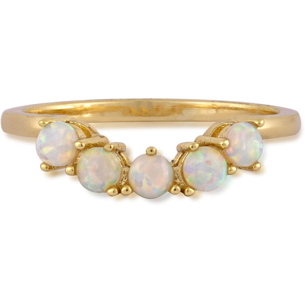 Five opals gold plated ring - GALLERIA ARMADORO
