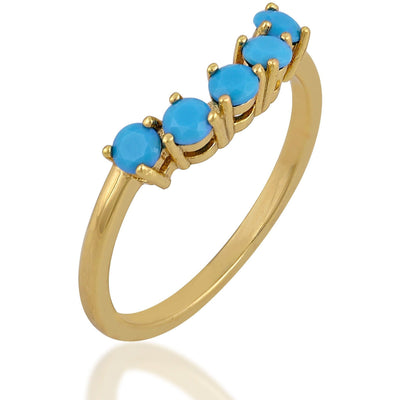 Five turquoise gold plated ring - GALLERIA ARMADORO