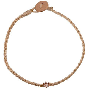 Flower pink gold plated braided bracelet - GALLERIA ARMADORO