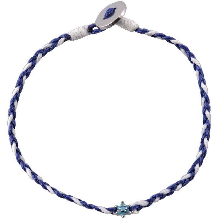 Image of Flower turquoise sterling silver braided bracelet