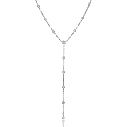 Flower white cz with opal sterling silver lariat necklace - GALLERIA ARMADORO