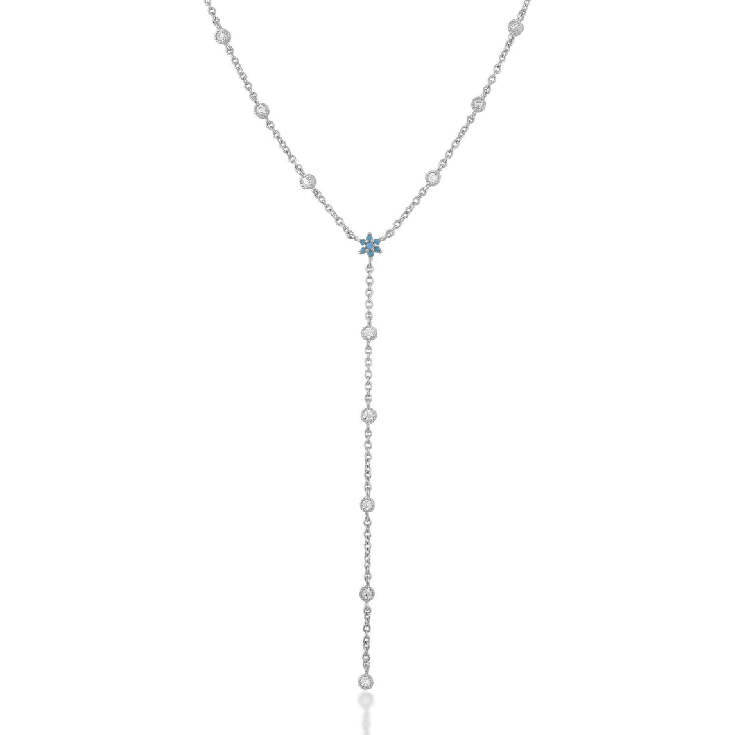 Flower white cz with turquoise sterling silver lariat necklace - GALLERIA ARMADORO