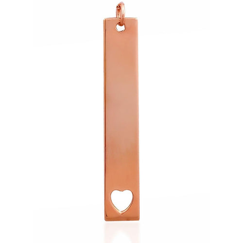 Heart long tag pink gold vermeil charm - GALLERIA ARMADORO