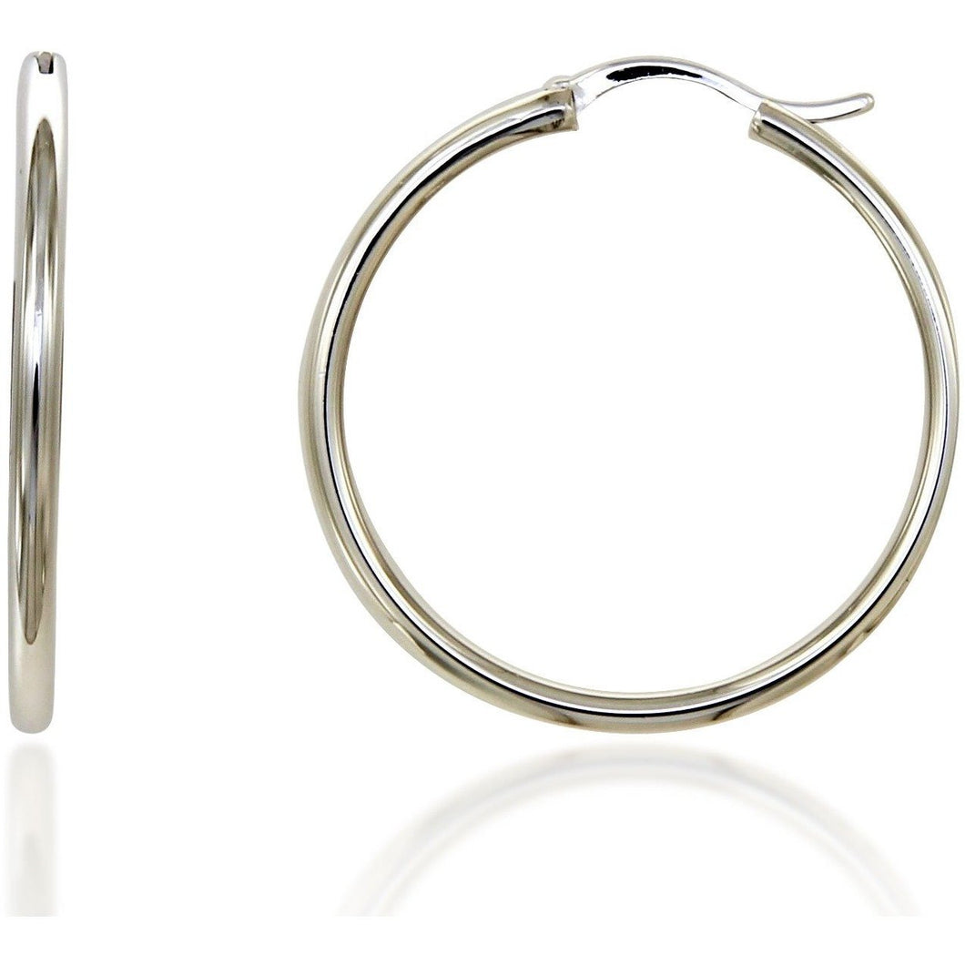 Infinity 3 cm sterling silver hoops - GALLERIA ARMADORO