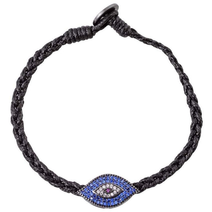 Large evil eye black gold plated braided bracelet - GALLERIA ARMADORO