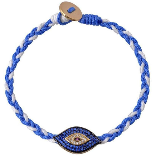 Large evil eye gold plated braided bracelet - GALLERIA ARMADORO