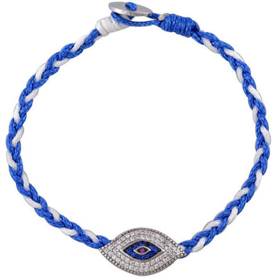 Large evil eye sterling silver braided bracelet - GALLERIA ARMADORO