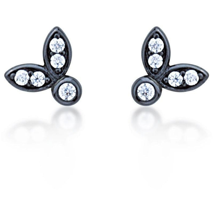 Leaf stud earrings black gold plated with white cz stones - GALLERIA ARMADORO