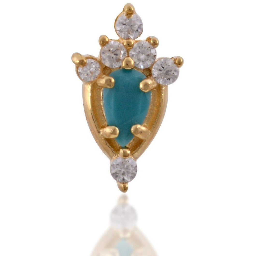 Lilly turquoise gold vermeil stud - GALLERIA ARMADORO